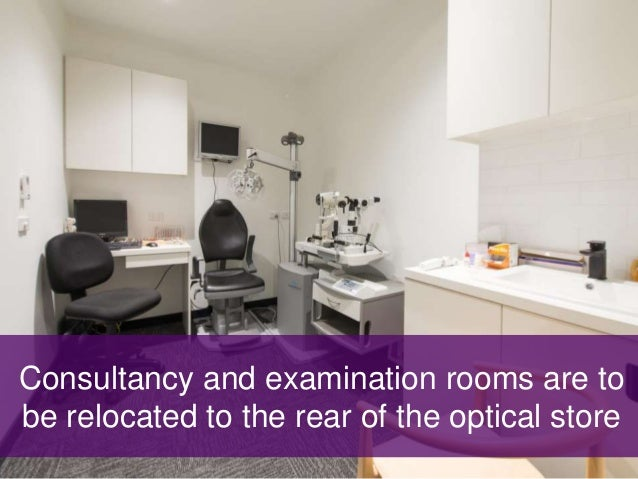 Consultancy and examination rooms are to be relocated to the rear of the optical store