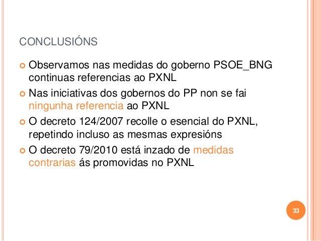 CONCLUSIÓNS  Observamos nas medidas do goberno PSOE_BNG continuas referencias ao PXNL  Nas iniciativas dos gobernos do P...