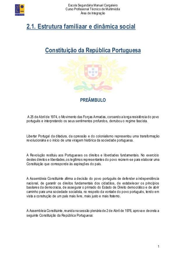 Escola Segundária Manuel Cargaleiro Curso Profissional Técnico de Multimédia Área de Integração 1 2.1. Estrutura familiaar...