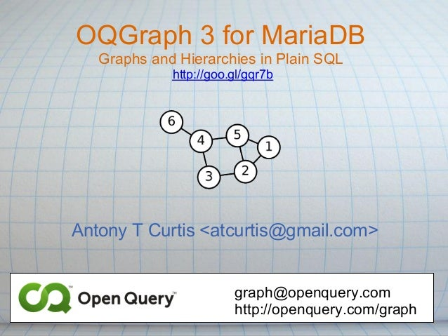 OQGraph 3 for MariaDB   Graphs and Hierarchies in Plain SQL             http://goo.gl/gqr7bAntony T Curtis <atcurtis@gmail...
