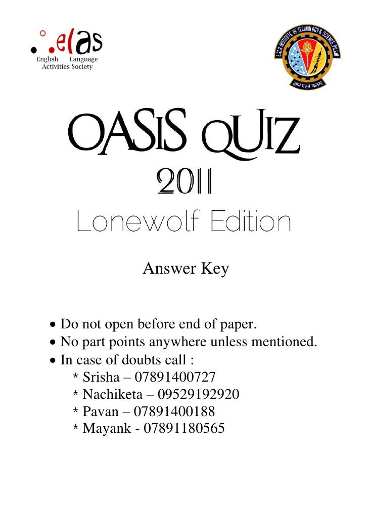 Oasis Quiz Lonewolf Edition - 2011 Answer Key