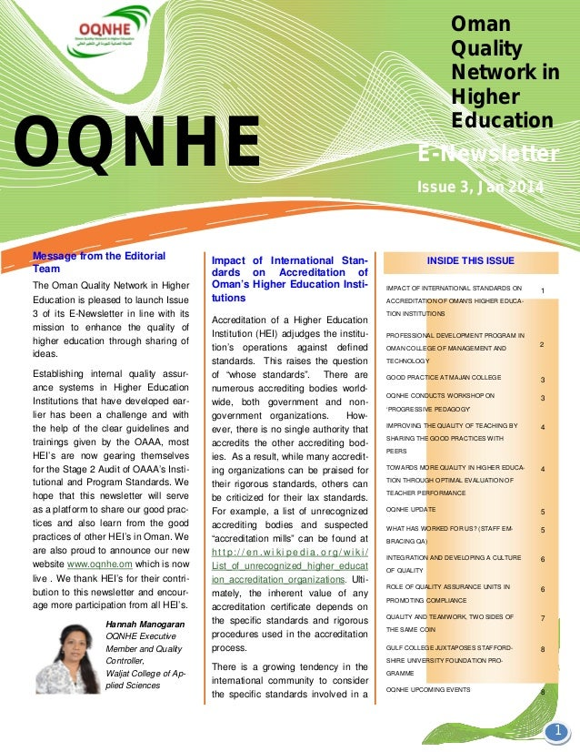 OQNHE Oman Quality Network in Higher Education E-Newsletter 1 Accreditation of a Higher Education Institution (HEI) adjudg...