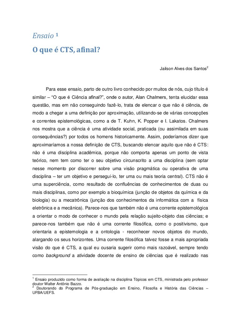 Ensaio 1O que é CTS, afinal?                                                                       Jailson Alves dos Santo...