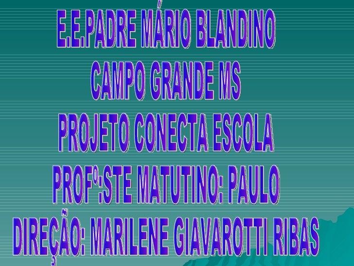 E.E.PADRE MÁRIO BLANDINO CAMPO GRANDE MS PROJETO CONECTA ESCOLA PROFº:STE MATUTINO: PAULO DIREÇÃO: MARILENE GIAVAROTTI RIBAS