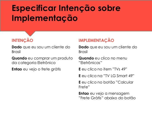 Especificar Intenção sobre Implementação INTENÇÃO Dado que eu sou um cliente do Brasil Quando eu comprar um produto da cat...