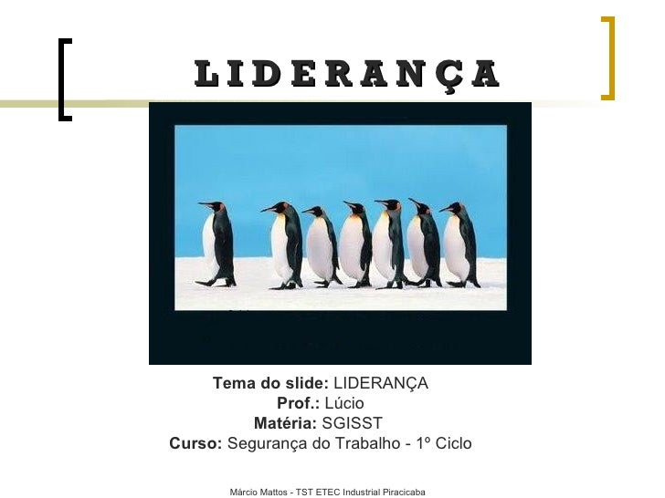 L I D E R A N Ç A Tema do slide:  LIDERANÇA Prof.:  Lúcio Matéria:   SGISST  Curso:  Segurança do Trabalho - 1º Ciclo