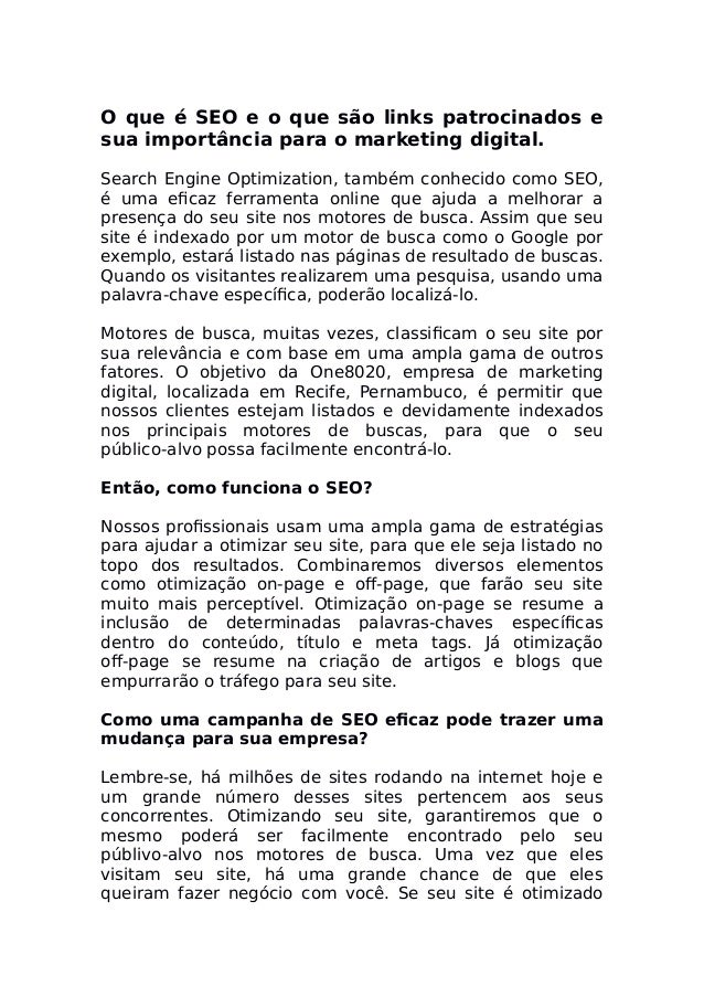 O que é SEO e o que são links patrocinados e sua importância para o marketing digital. Search Engine Optimization, também ...