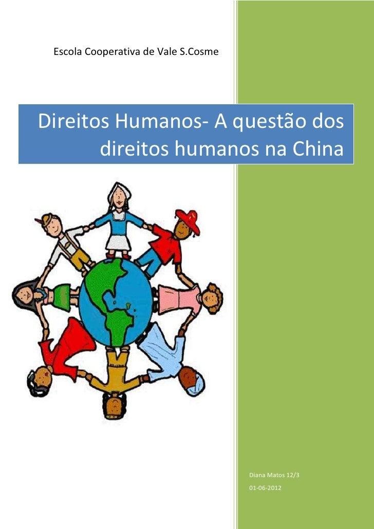 Escola Cooperativa de Vale S.CosmeDireitos Humanos- A questão dos       direitos humanos na China                         ...