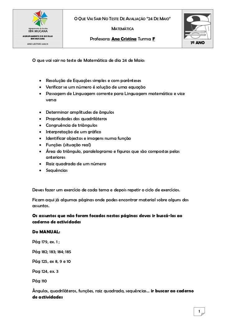 """O QUE VAI SAIR NO TESTE DE AVALIAÇÃO """"24 DE MAIO""""                                                  MATEMÁTICAAGRUPAMENTO D..."""