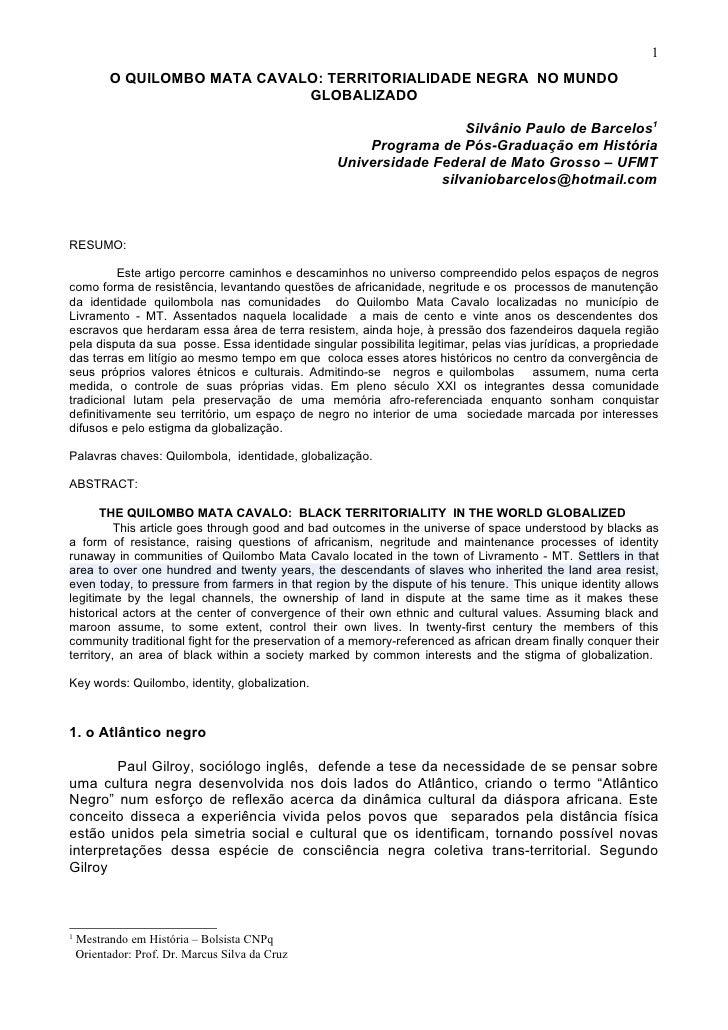 1           O QUILOMBO MATA CAVALO: TERRITORIALIDADE NEGRA NO MUNDO                                GLOBALIZADO            ...
