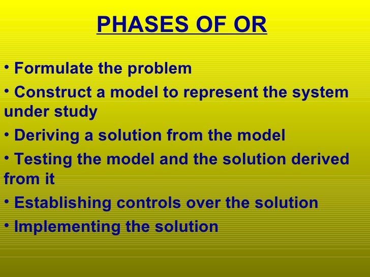 phases of operational research study
