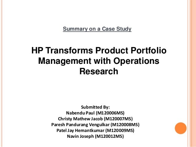 project report on a case study on portfolio management Each example provides a project management case study describing how a project was managed, the challenges faced and the tips and tricks used to deliver the project successfully by reading the extensive suite of examples included within mpmm, you will advance your project management knowledge and skill set.