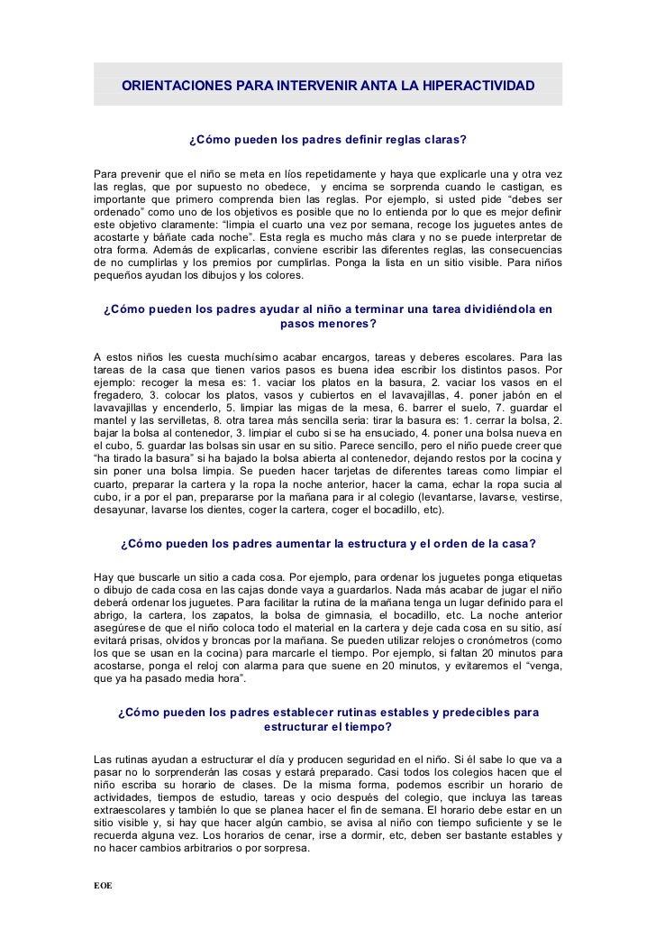 ORIENTACIONES PARA INTERVENIR ANTA LA HIPERACTIVIDAD                    ¿Cómo pueden los padres definir reglas claras?Para...
