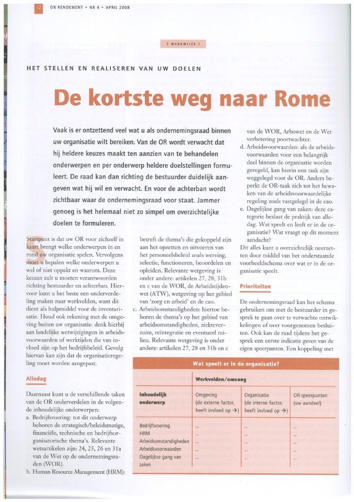 De kortste weg naar Rome: het stellen en realiseren van uw doelen - Rob van Etten - April 2008 - OR Rendement