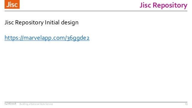 Jisc Repository Jisc Repository Initial design https://marvelapp.com/36ggde2 04/06/2018 Building a National Data Service 13
