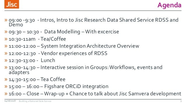 Agenda » 09:00 -9:30 - Intros, Intro to Jisc Research Data Shared Service RDSS and Demo » 09:30 – 10:30 - Data Modelling –...