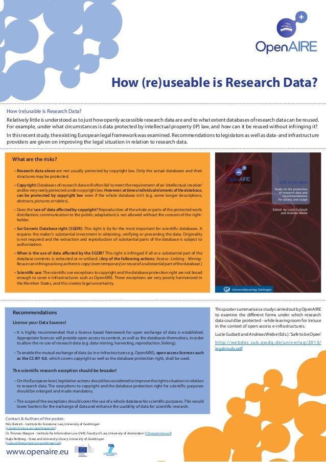 ThispostersummarisesastudycarriedoutbyOpenAIRE to examine the different forms under which research data could be protected...