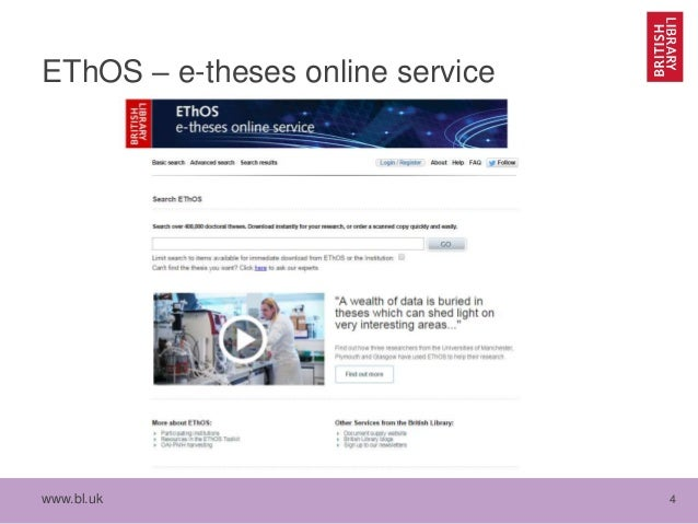 ethos british library thesis service Also known as electronic theses online service, ethos comprises a wealth of higher education institutions, including the british library funding for this online service is provided by he, jisc, and rluk partners.