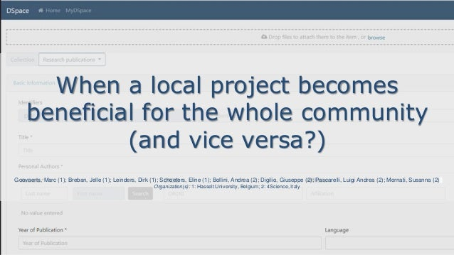 When a local project becomes beneficial for the whole community (and vice versa?) Goovaerts, Marc (1); Breban, Jelle (1); ...