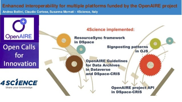 Enhanced interoperability for multiple platforms funded by the OpenAIRE project Andrea Bollini, Claudio Cortese, Susanna M...