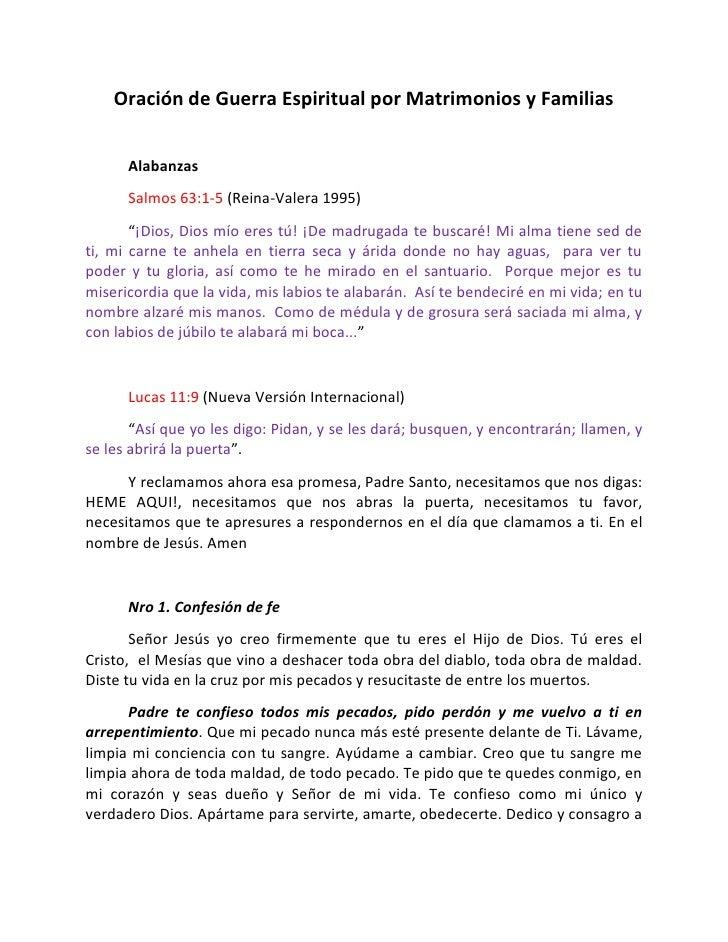 "Oración de Guerra Espiritual por Matrimonios y Familias      Alabanzas      Salmos 63:1-5 (Reina-Valera 1995)       ""¡Dios..."