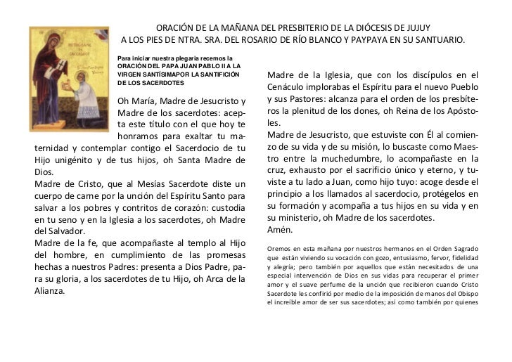 -29210010033000ORACIÓN DE LA MAÑANA DEL PRESBITERIO DE LA DIÓCESIS DE JUJUY<br />A LOS PIES DE NTRA. SRA. DEL ROSARIO DE R...