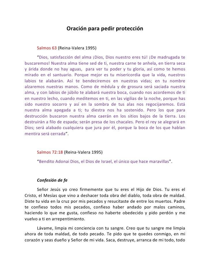 """Oración para pedir protección      Salmos 63 (Reina-Valera 1995)       """"Dios, satisfacción del alma ¡Dios, Dios nuestro er..."""