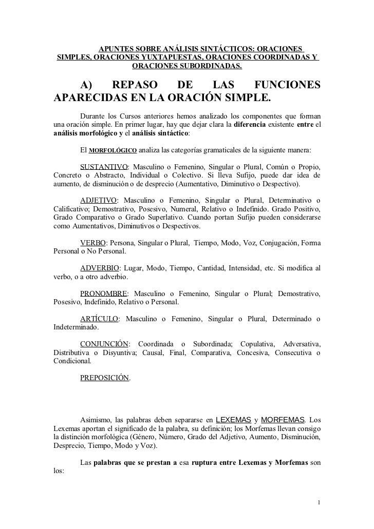 APUNTES SOBRE ANÁLISIS SINTÁCTICOS: ORACIONES SIMPLES, ORACIONES YUXTAPUESTAS, ORACIONES COORDINADAS Y                  OR...