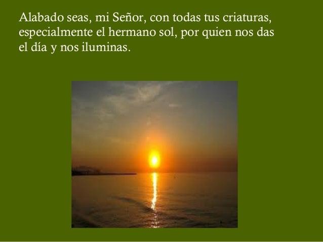 Alabado seas, mi Señor, con todas tus criaturas, especialmente el hermano sol, por quien nos das el día y nos iluminas.