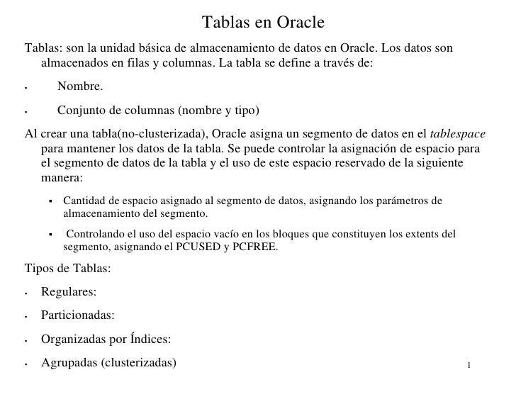 Tablas en OracleTablas: son la unidad básica de almacenamiento de datos en Oracle. Los datos son  almacenados en filas y c...