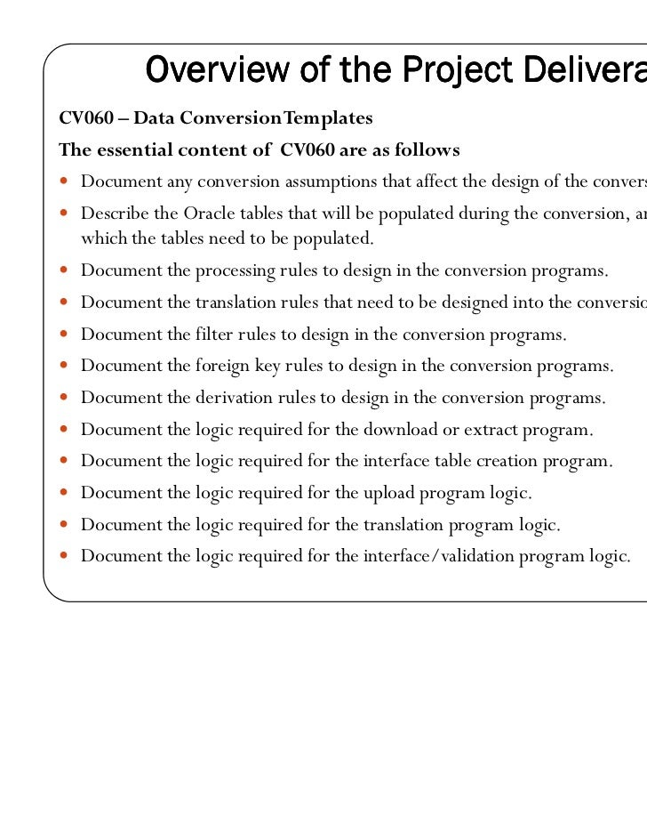 Data conversion strategy document oracle