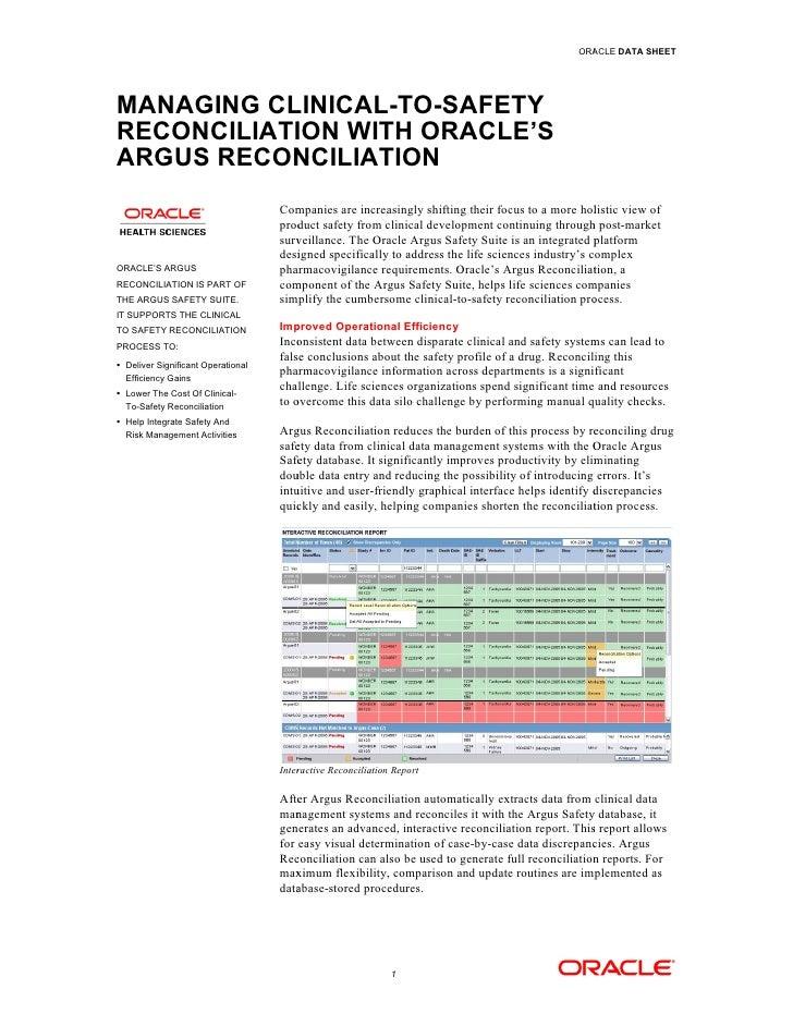 PHARMACOVIGILANCE  DATABASE: ORACLE ARGUS SIMPLIFIED