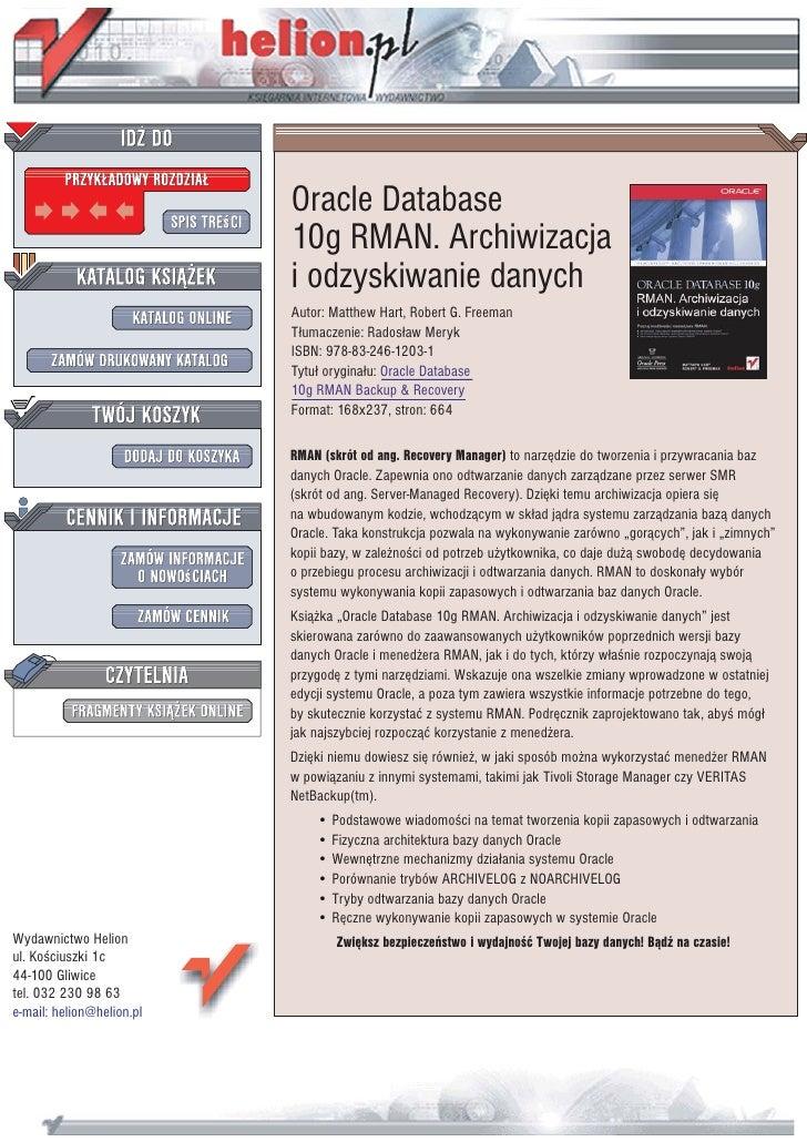 Oracle Database                            10g RMAN. Archiwizacja                            i odzyskiwanie danych        ...