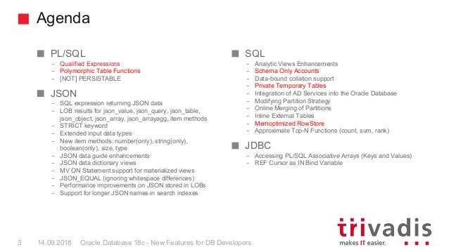 TechEvent 2018: Oracle Database 18c - New Features for DB