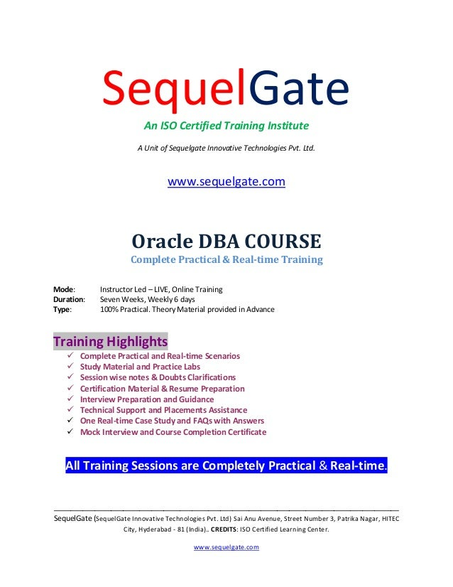Practical Training On Orcle Dba With Real Time Project