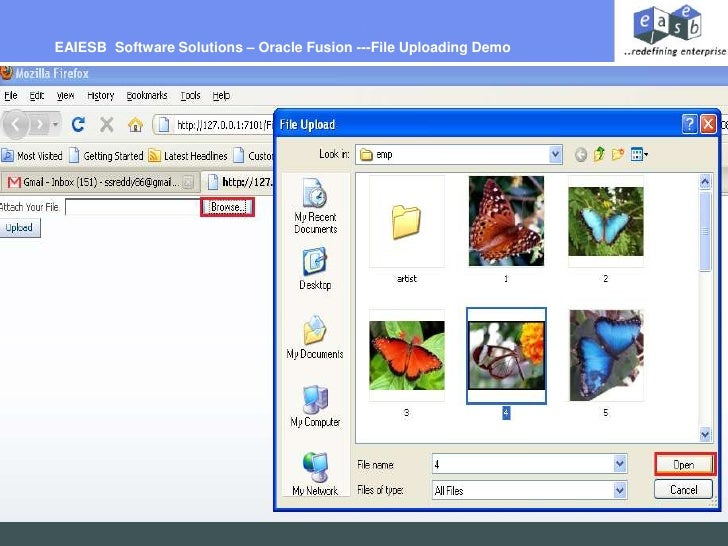 EAIESB  Software Solutions – Oracle Fusion ---File Uploading Demo <br />