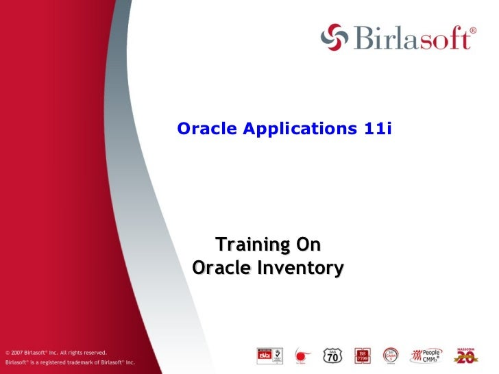 Oracle Applications 11i   Training On Oracle Inventory