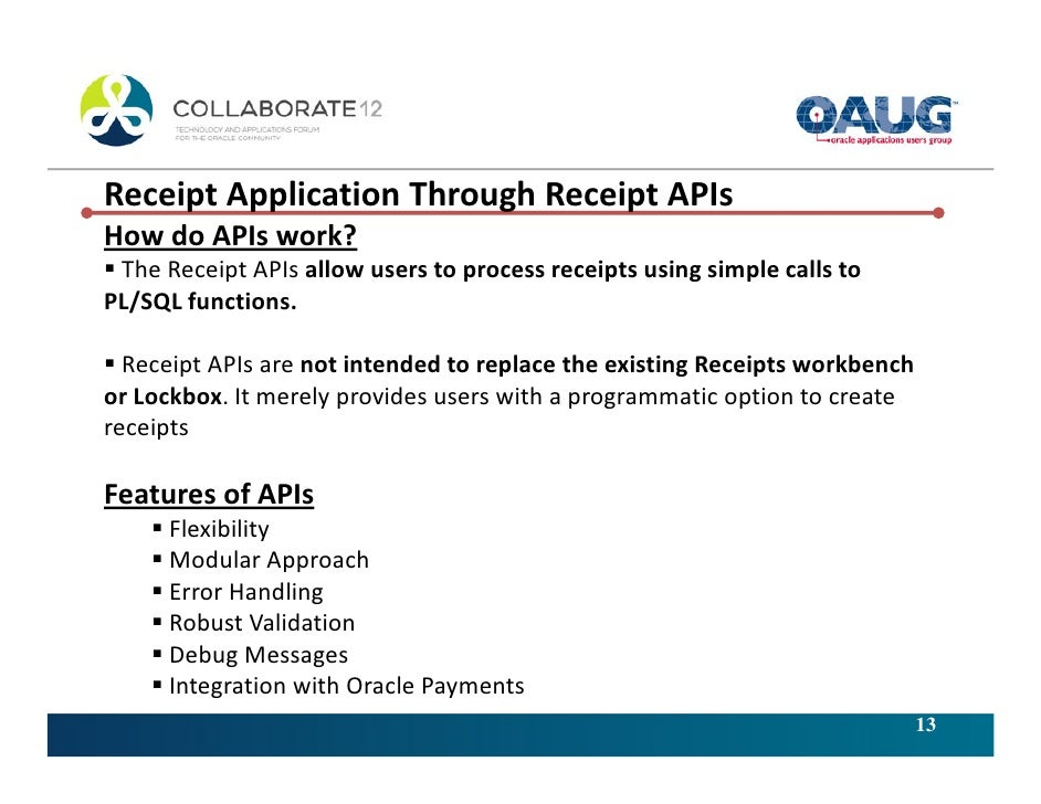 Efficiently handling Applications of Customer Receipts in