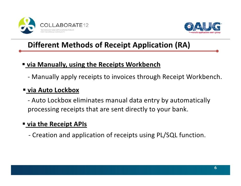 efficiently handling applications of customer receipts in oracle rece