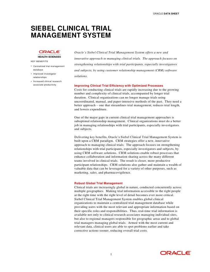 Clinical Trial Software Oracle Siebel Clinical Trial