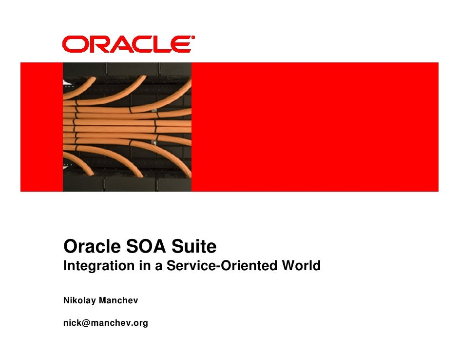 <Insert Picture Here>     Oracle SOA Suite Integration in a Service-Oriented World  Nikolay Manchev  nick@manchev.org