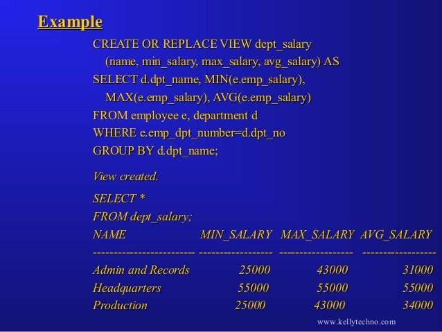 ExampleExample CREATE OR REPLACE VIEW dept_salaryCREATE OR REPLACE VIEW dept_salary (name, min_salary, max_salary, avg_sal...