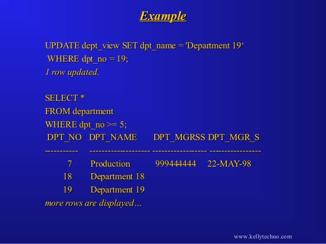 ExampleExample UPDATE dept_view SET dpt_name = 'Department 19'UPDATE dept_view SET dpt_name = 'Department 19' WHERE dpt_no...