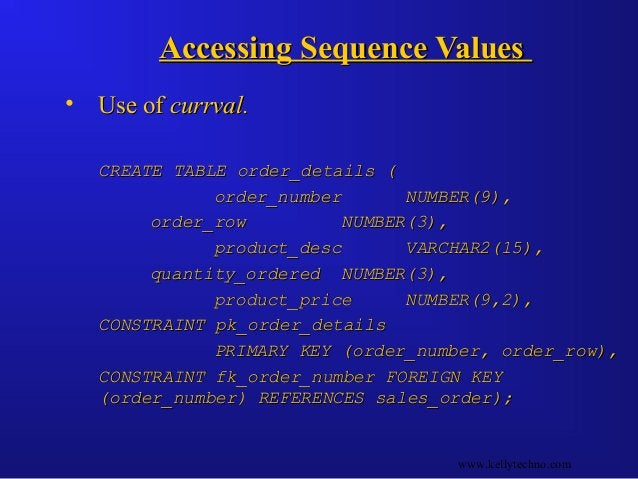 Accessing Sequence ValuesAccessing Sequence Values • Use ofUse of currval.currval. CREATE TABLE order_details (CREATE TABL...