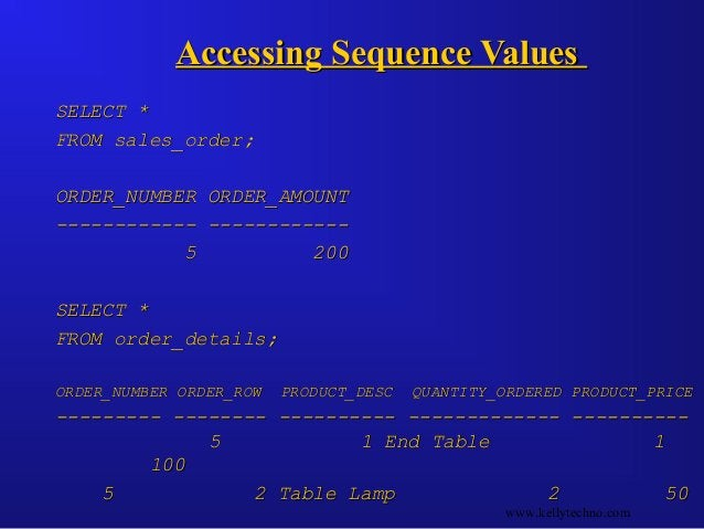 Accessing Sequence ValuesAccessing Sequence Values SELECT *SELECT * FROM sales_order;FROM sales_order; ORDER_NUMBER ORDER_...