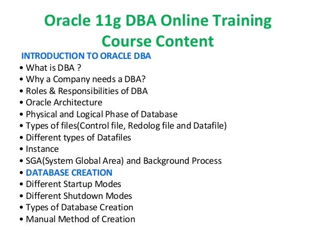 Oracle 11g DBA online training | Oracle 11g DBA certification