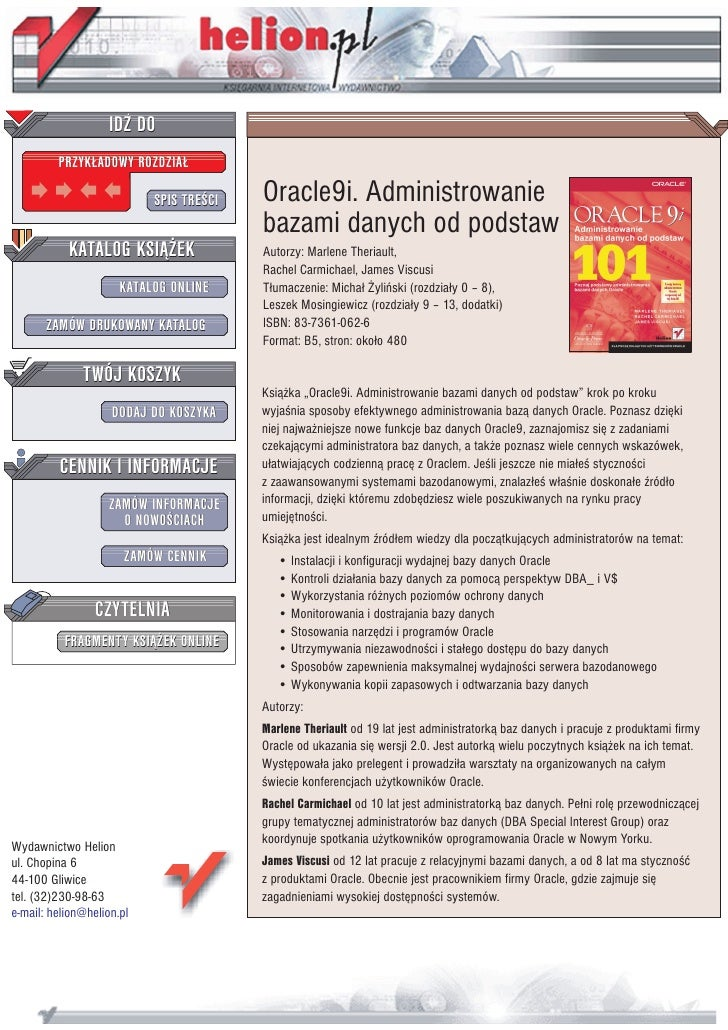 IDZ DO          PRZYK£ADOWY ROZDZIA£                             SPIS TRE CI   Oracle9i. Administrowanie                  ...