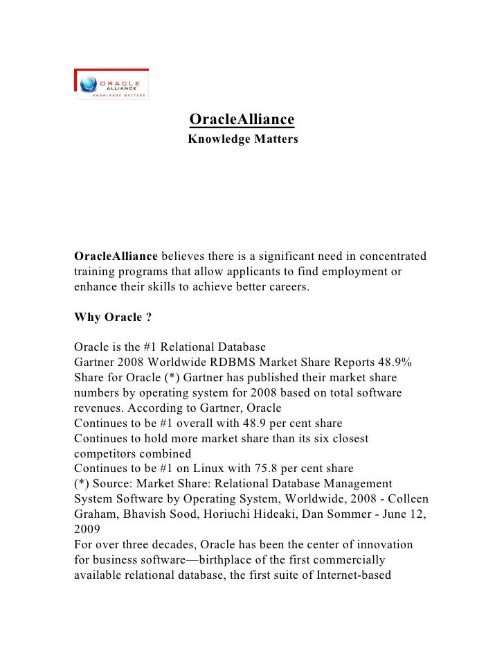 OracleAlliance                      Knowledge Matters     OracleAlliance believes there is a significant need in concentra...