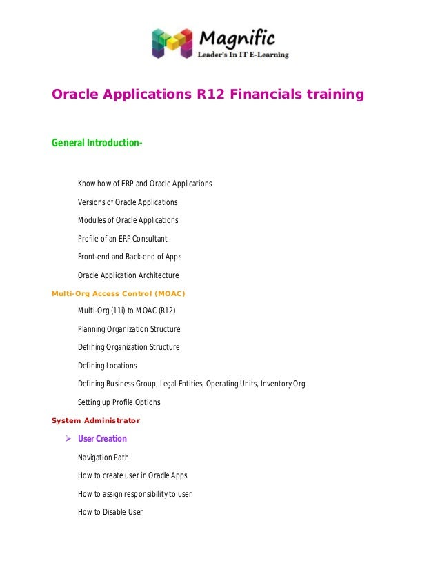 Oracle Applications R12 Financials training General Introduction- Know how of ERP and Oracle Applications Versions of Orac...