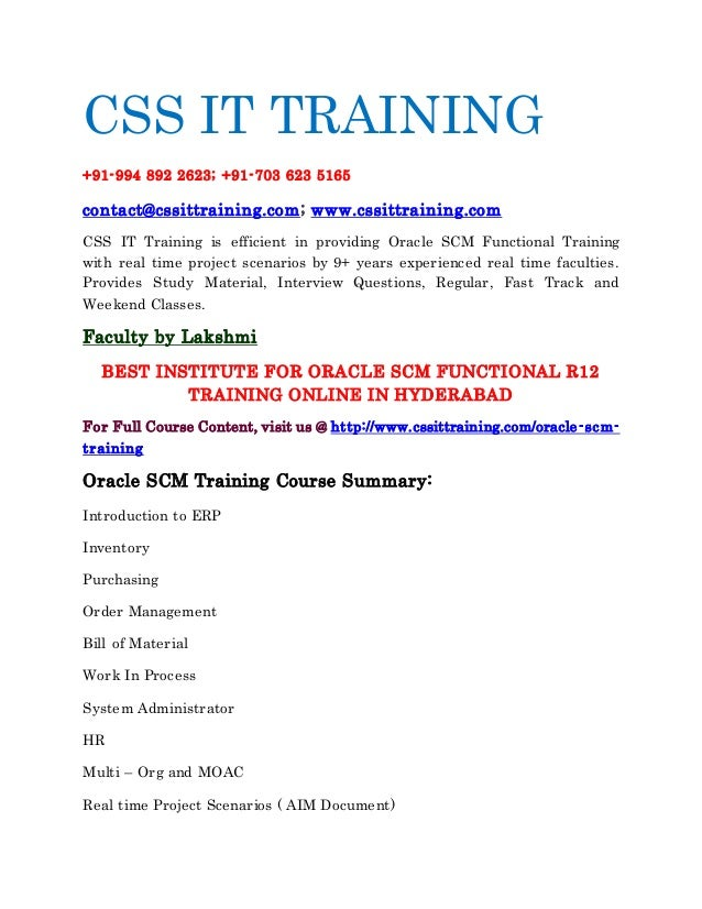 Oracle apps scm functional training online in hyderabad